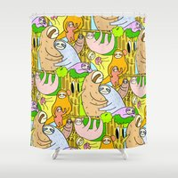 sloths Shower Curtains featuring Sloths by Vincy Cheung