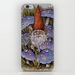 Gnome Among Purple Mushrooms iPhone Skin