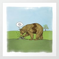 charlie brown Art Prints featuring Charlie Brown Bear by Quick Brown Fox