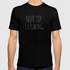 Never Stop Exploring: Mount Rainier Black MEDIUM Mens Fitted Tee
