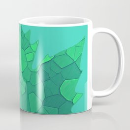 Stained Glass Tiffany style Sycamore leaves on green Coffee Mug