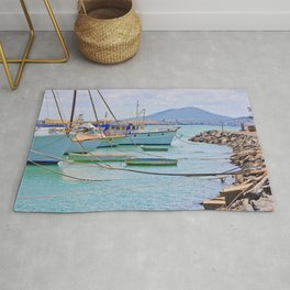 Boats on the river Rug