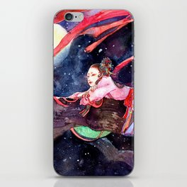 Watercolor Chinese Beauty in the moonlight iPhone Skin