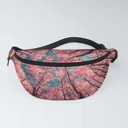 Glance Upward Vibrant Living Coral Trees Teal Sky Fanny Pack