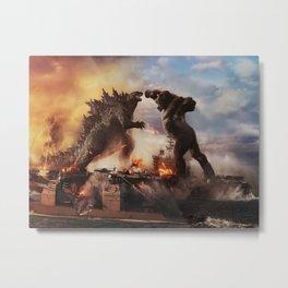 Godzilla vs King Kong Moster Fight Movies Art Print Decor Home Poster Full Size, Metal Print