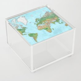 Watercolor physical world map (high detail) Acrylic Box