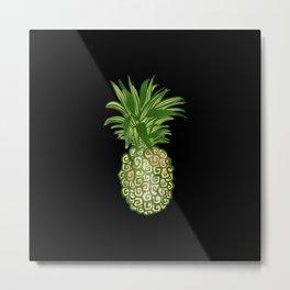 Black Pineapple Metal Print