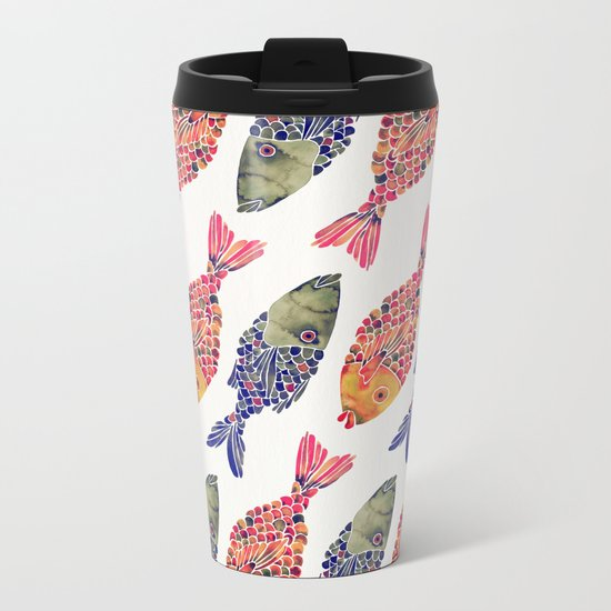 Indonesian Fish Duo – Navy & Coral Palette Metal Travel Mug