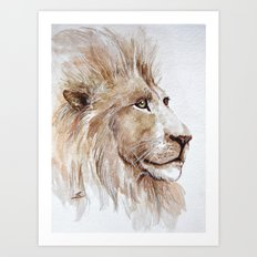 Wise lion Art Print