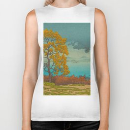 Vintage Japanese Woodblock Print Autumn Japanese Landscape Field Tall Tree Biker Tank