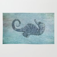sea horse Area & Throw Rugs featuring sea & horse by Steffi Louis