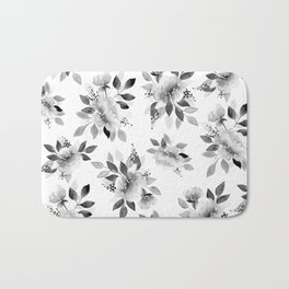 Black and White Watercolor Flowers Bath Mat
