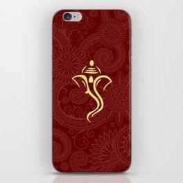Maroon Ganesha - Hindu Elephant Deity iPhone Skin