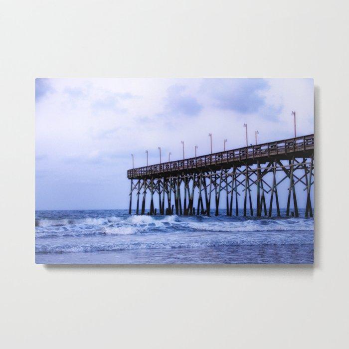 Waves against the Pier Metal Print
