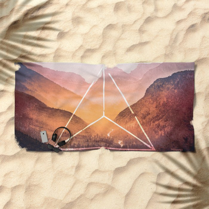 The Elements Geometric Nature Element of Fire Beach Towel
