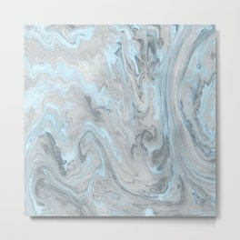 Ice Blue and Gray Marble Metal Print
