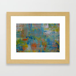Colorful Abstract Wall Art, Teal Blue yellow, Contemporary Home Decor Framed Art Print