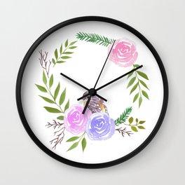 A yellow robin in a rose flower wreath Wall Clock
