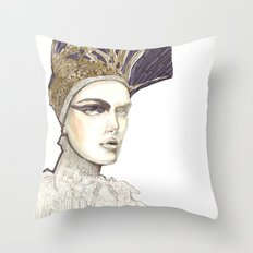 Portrait illustration in golden markers and pencils Throw Pillow