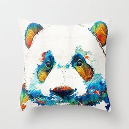 Colorful Panda Bear Art By Sharon Cummings Throw Pillow