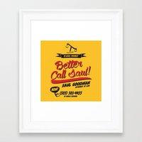better call saul Framed Art Prints featuring Better Call Saul by Krikoui