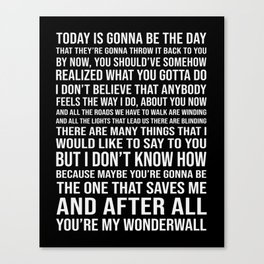 Wonderwall Oasis Inspired Song Lyric Print Canvas Print