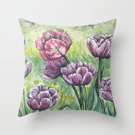 Tulips - Spring watercolor painting Throw Pillow