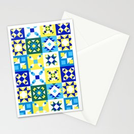 Moroccan tiles pattern with blue and yellow no4 Stationery Cards