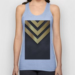 Back and gold geometric design Unisex Tank Top