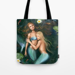 Beautiful fantasy princess mermaids in lake with lilies underwater background Tote Bag