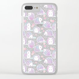 Spring Hedgehog Pattern Clear iPhone Case