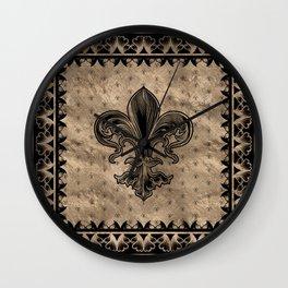 Fleur-de-lis - Black and Gold Wall Clock