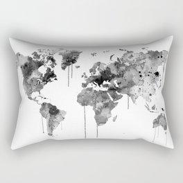 Watercolor World Map Grey Rectangular Pillow