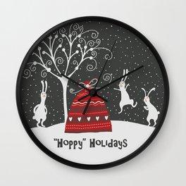 Hoppy Holidays Greeting Wall Clock