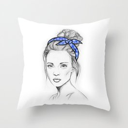 Girl in Blue Throw Pillow