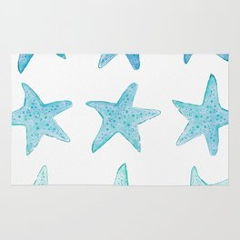 Blue Watercolor Starfish Rug