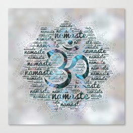 Labradorite Namaste Word Art in Lotus with OM symbol on pearl Canvas Print