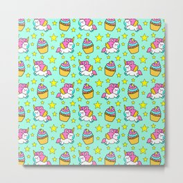 Cute colorful magical baby unicorns and sweet yummy cupcakes and bright golden stars green fantasy pattern design. Nursery decor ideas. Funny gifts for unicorn lovers. Metal Print