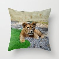 the lion king Throw Pillows featuring King Lion by helsch photography