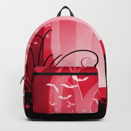 Dark Forest at Dawn in Ruby Backpack