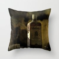 whisky Throw Pillows featuring Ballantines Finest Scotch Whisky by AliceArtDotCom