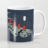 battlestar galactica Mugs featuring You Sunk My Battlestar by Caddywompus