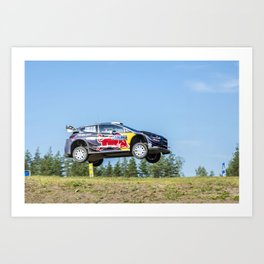 Jumping rally car Art Print