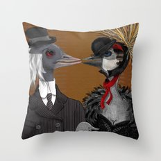 Demoiselle Crane and Grey Crowned Crane Throw Pillow