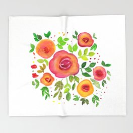 Bright Flowers Floral Bouquet - Watercolor Painting Throw Blanket