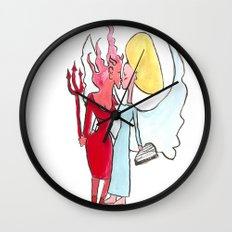 Angel/devil lesbian kiss Wall Clock