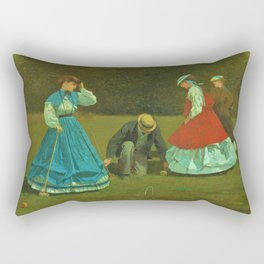 Winslow Homer1 - Croquet Scene - Digital Remastered Edition Rectangular Pillow
