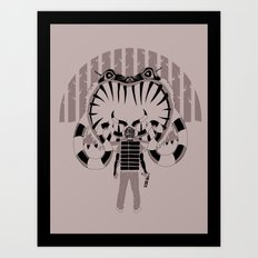 Striped Monster vs. Spaceman Art Print