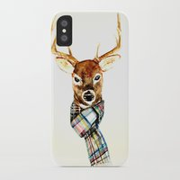 craftberrybush iPhone & iPod Cases featuring Deer buck with winter scarf - watercolor by craftberrybush