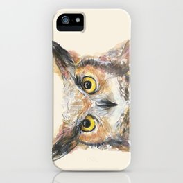 Owl Watercolor Great Horned Owl Painting iPhone Case
